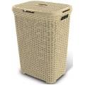 CURVER Koš na špinavé prádlo RATTAN, 44,8 x 61,5 x 34,1 cm, 60 l, krémový, 00707-885