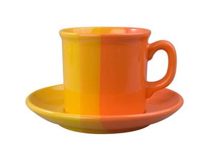 VETRO-PLUS Šálek s podšálkem univerzal oranžová/žlutý 240ml 203087CFOY