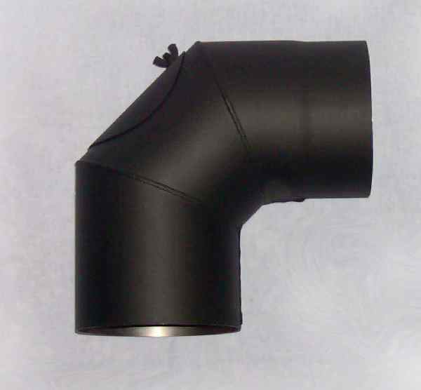 Koleno kouřovodu s čistícím otvorem 160mm 90° (1,5) černé