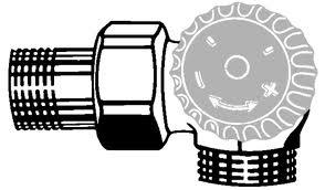 """HEIMEIER radiátorový ventil samotížný DN 15-3/4"""" úhlový, pravý, vnější závit 2342-02.000"""