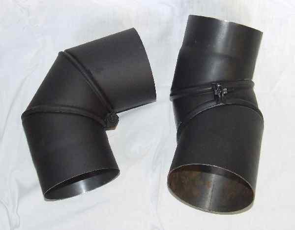 Koleno kouřovodu, přestavitelné 160mm 0-90° (1,5) černé