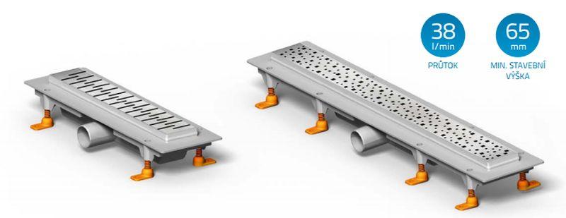 CHUDĚJ Lineární plastový žlab BASIC 750 mm do prostoru s roštem BASIC, mat CH-750B1