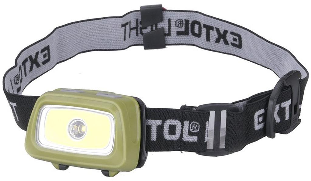 EXTOL LIGHT čelovka 250lm+250lm, 250lm Seoul LED, 250lm COB LED, červené/zelené světlo pro noční vidění 43108