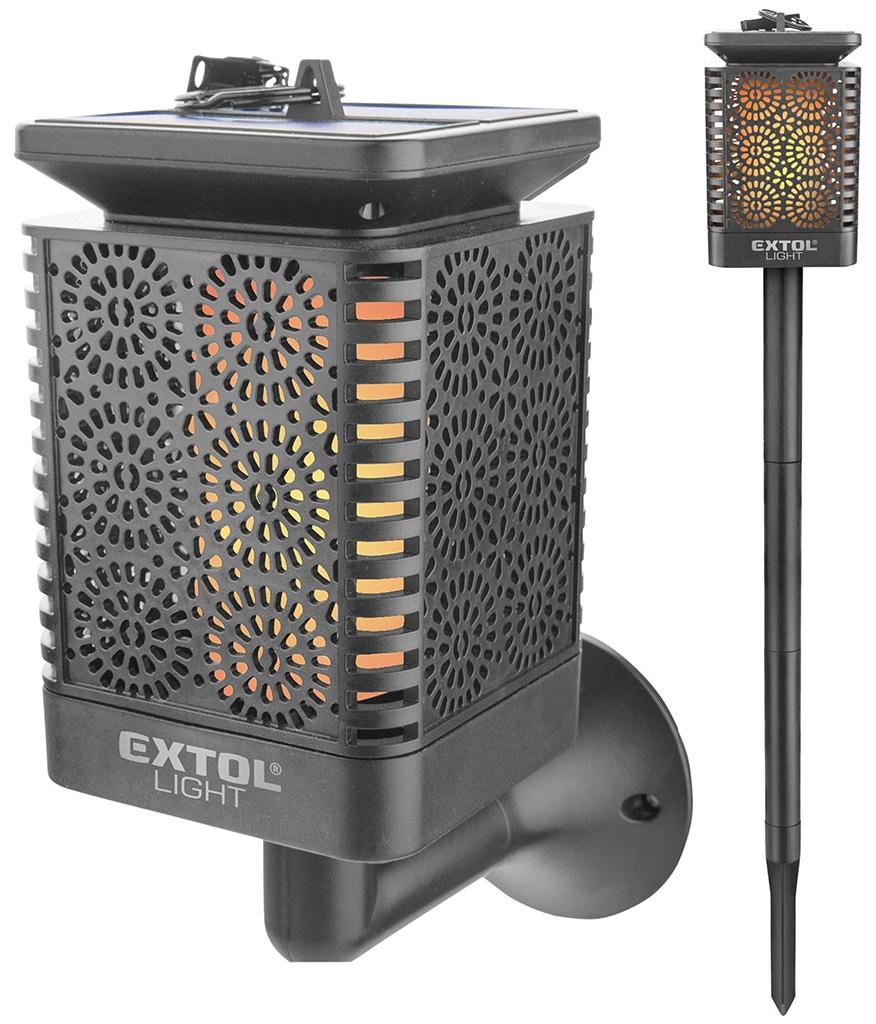 EXTOL LIGHT pochodeň LED s plamenem, solární nabíjení, 12x LED 43133