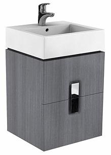KOLO Twins skříňka pod umyvadlo 50 cm, závěsná, se 2 zásuvkami, stříbrný grafit 89490 (89490000)