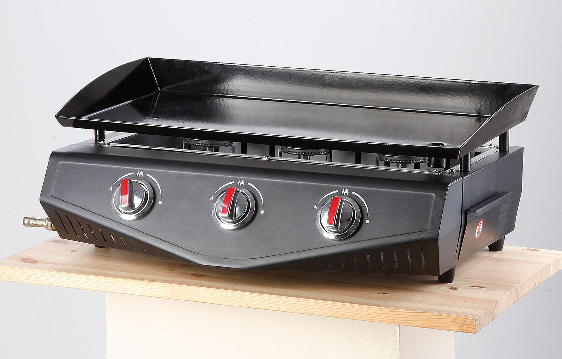 MEVA plynový gril Plancha 7,5 kW, 65x34cm se 3 hořáky UGP19001