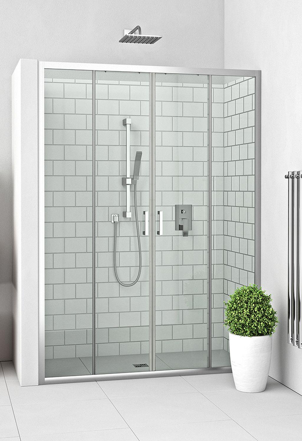 ROLTECHNIK Čtyřdílné sprchové dveře posuvné pro instalaci do niky LLD4/1300 brillant/transparent 574-1300000-00-02