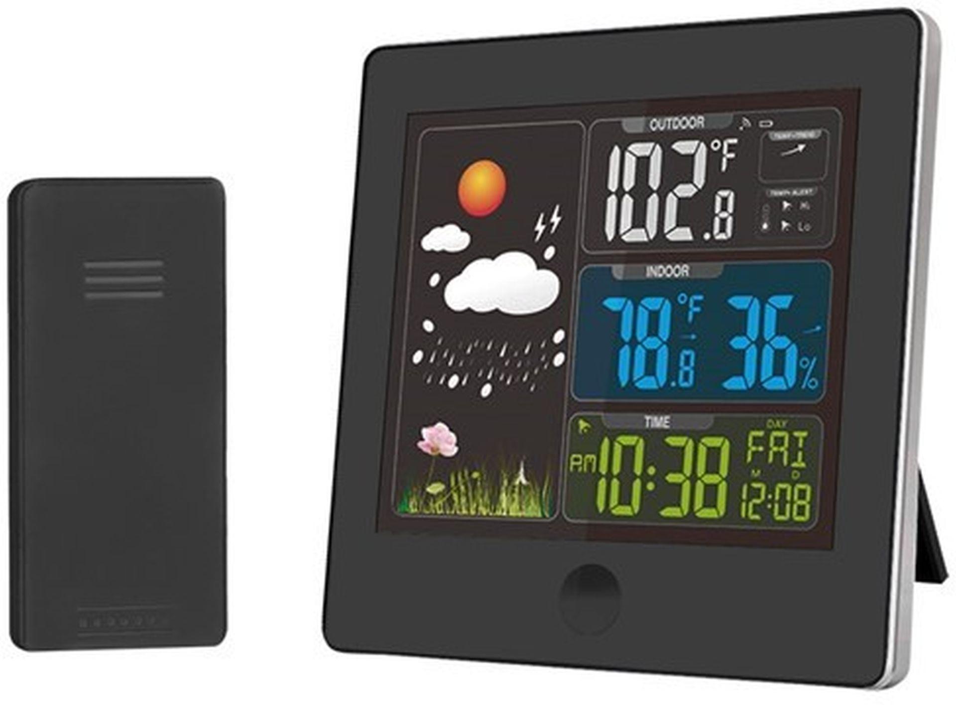 SOLIGHT meteostanice, barevný LCD, teplota, vlhkost,RCC, černá TE80