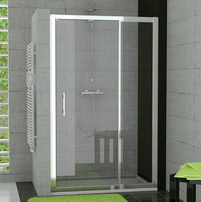 RONAL TED TOP-Line jednokřídlé dveře+pevná stěna, 80 cm, bílá/čiré TED08000407