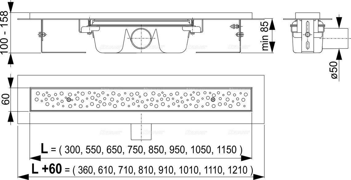 ALCAPLAST podlahový žlab antivandal s roštem APZ11-1050