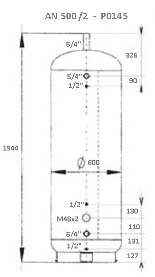 Atmos Akumulační nádrž 500 l/2 bez izolace s 200l bojlerem P0145