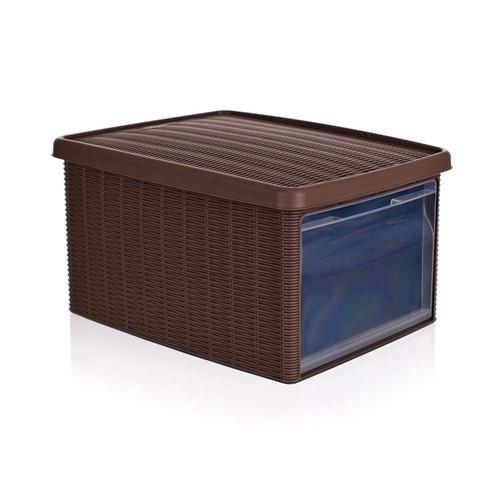 VETRO-PLUS Multifunkční box 15 L s víkem Rattan Elegance Line. tm. hnědá 5530003