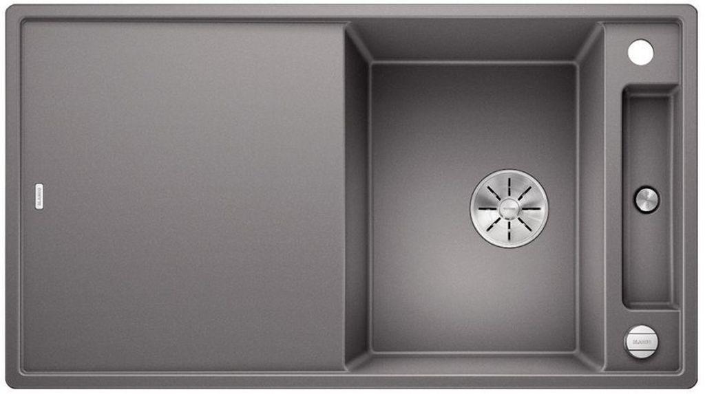 BLANCO AXIA III 5 S InFino silgranit aluminium dřez vpravo s excentrem přísluš. dřevo 523207
