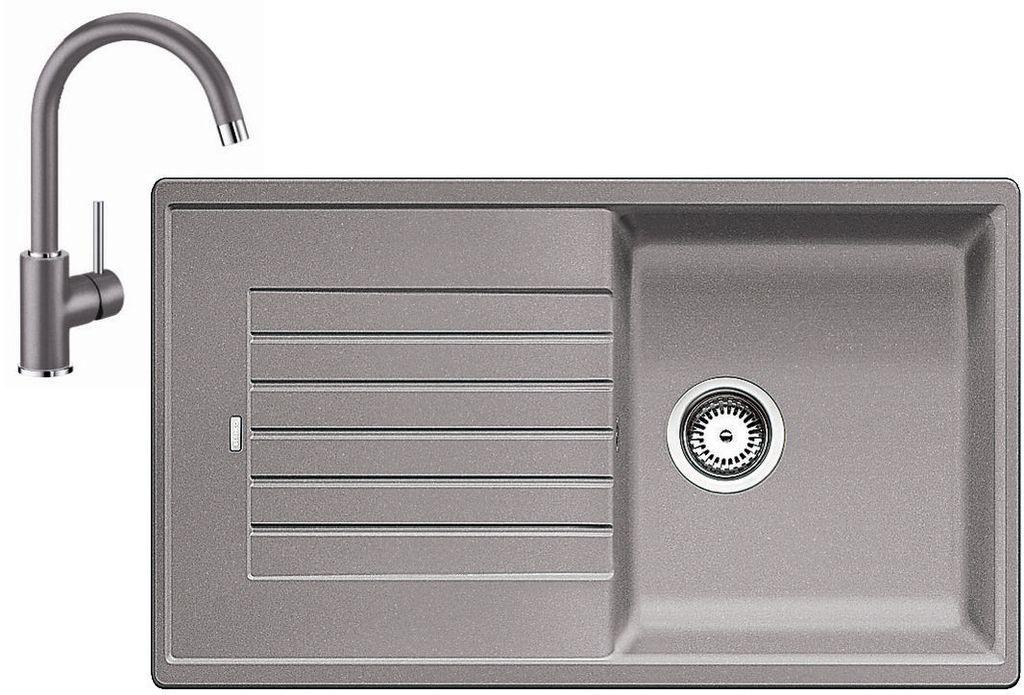 BLANCO Set dřez ZIA 5 S dřez Silgranit aluminium + baterie Mida aluminium