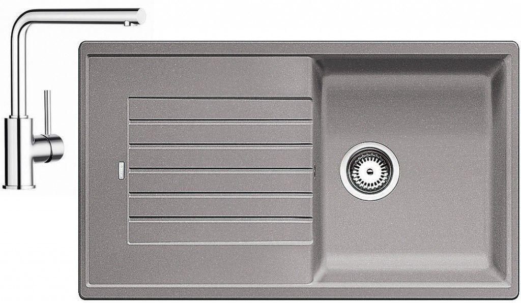 BLANCO Set dřez ZIA 5 S dřez Silgranit aluminium + baterie Mila chrom