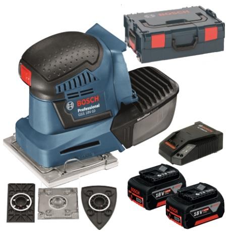 BOSCH GSS 18V-10 Aku vibrační bruska; 2x 5,0 Ah; L-Boxx 06019D0201