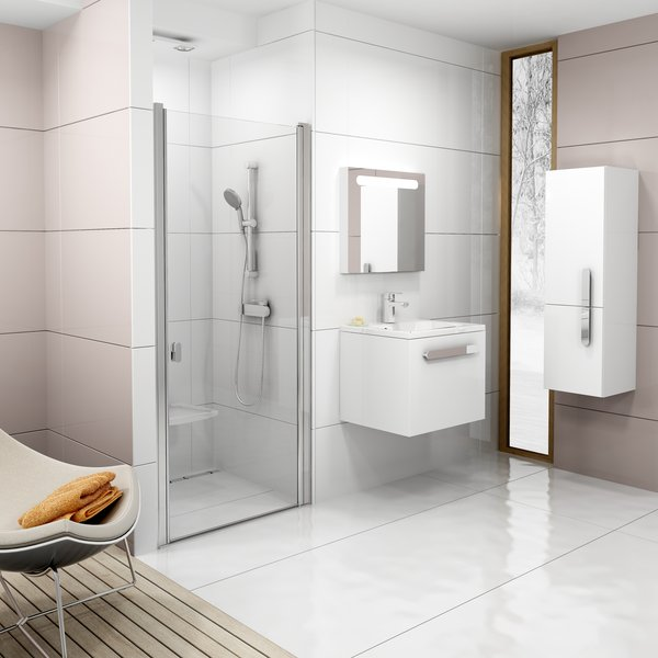 RAVAK Chrome CSD1-90 sprchové dveře, satin+Transparent 0QV70U00Z1