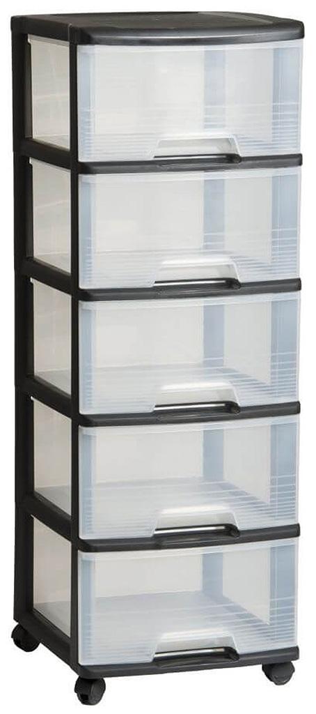 CURVER komoda se šuplíky 5x20L, transparent/černá 06770-146