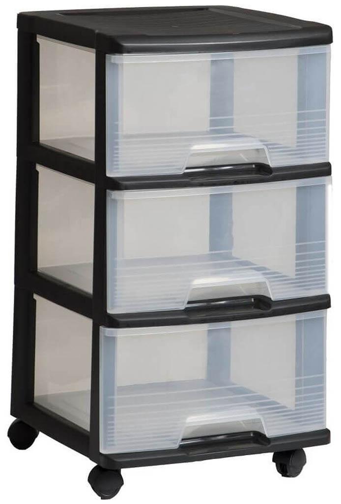 CURVER komoda se šuplíky 3x20L, transparent/černá 06772-146