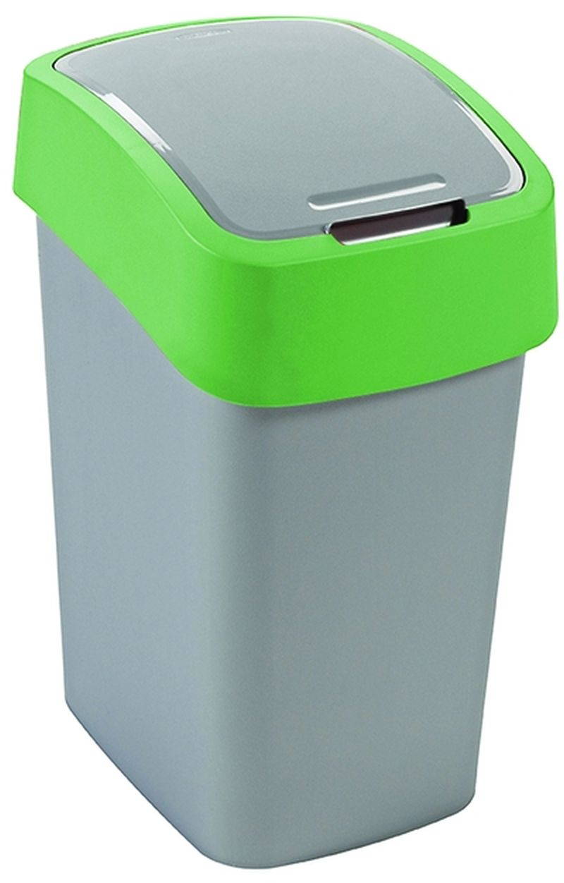 CURVER FLIPBIN 10l Odpadkový koš 35 x 18,9 x 23,5 cm stříbrná/zelená 02170-P80