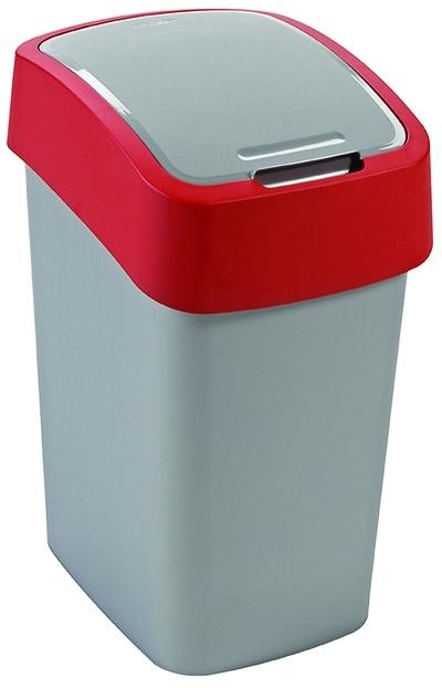 CURVER FLIPBIN 10l Odpadkový koš 35 x 18,9 x 23,5 cm stříbrná/červená 02170-547