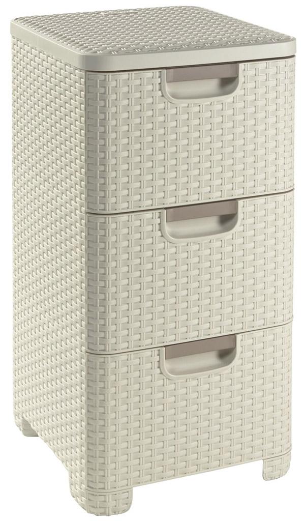 CURVER Zásuvka 3x 14l RATTAN Style - krémová, 06604-885