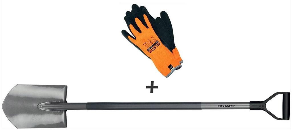 FISKARS Set rýč špičatý Ergonomic™ + pracovní rukavice 1003460