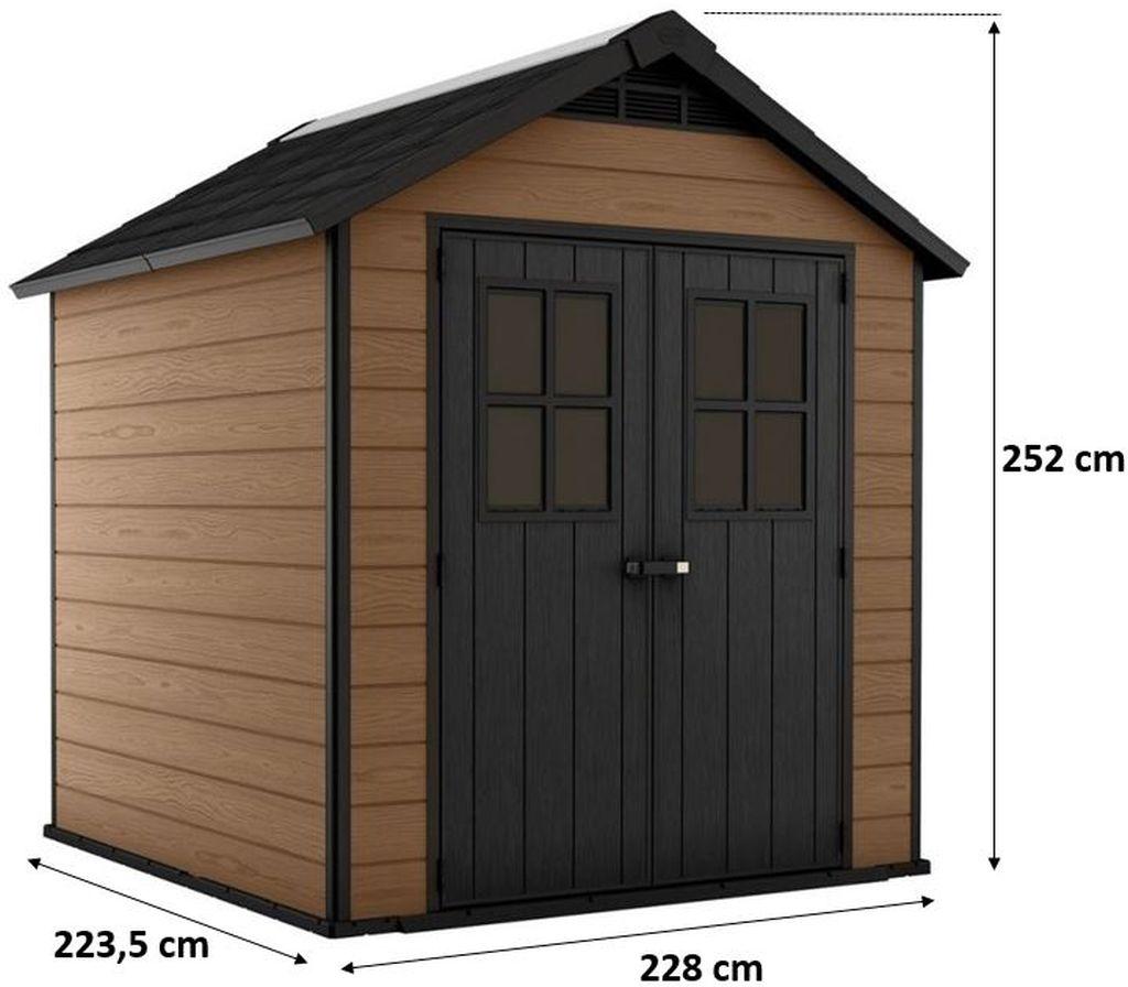 KETER NEWTON 757 zahradní domek, 228 x 223,5 x 252 cm, hnědý 17208503