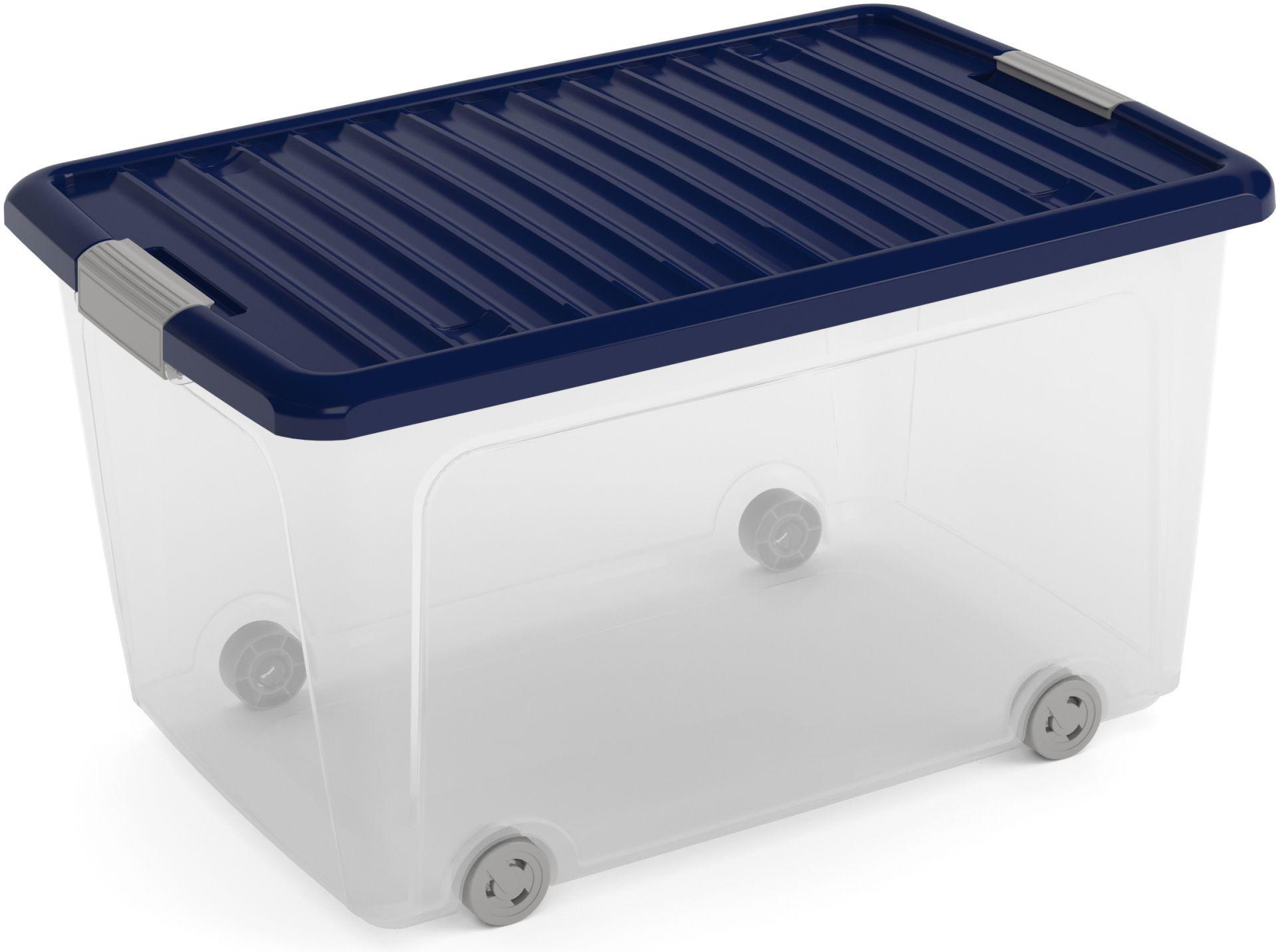 KIS W BOX L 50L 59x39x32cm transparent/modrá indigo