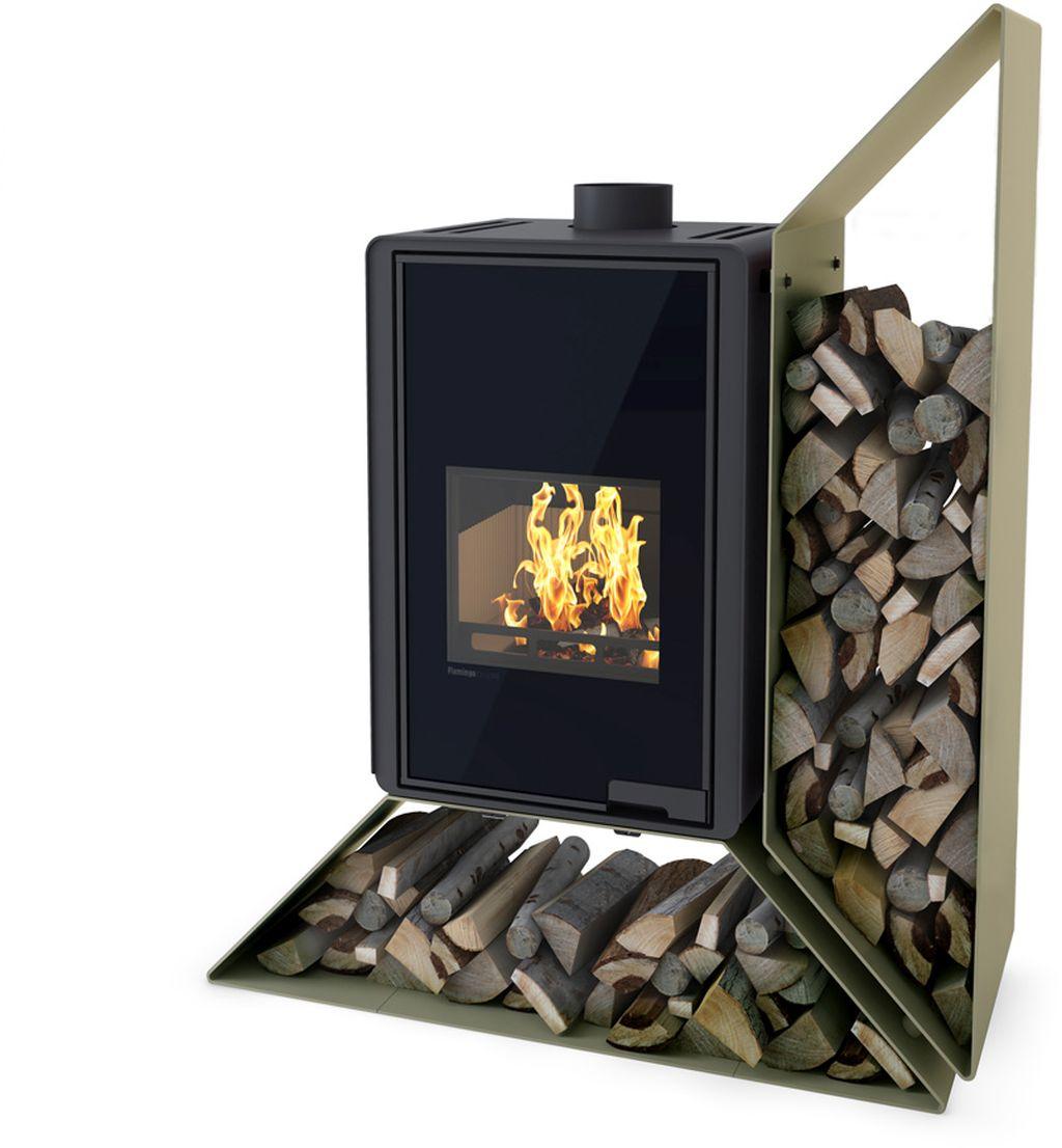 HS FLAMINGO DELUXE ® KAMPA Krbová kamna 9kW, pravá, olivová HSF42-017