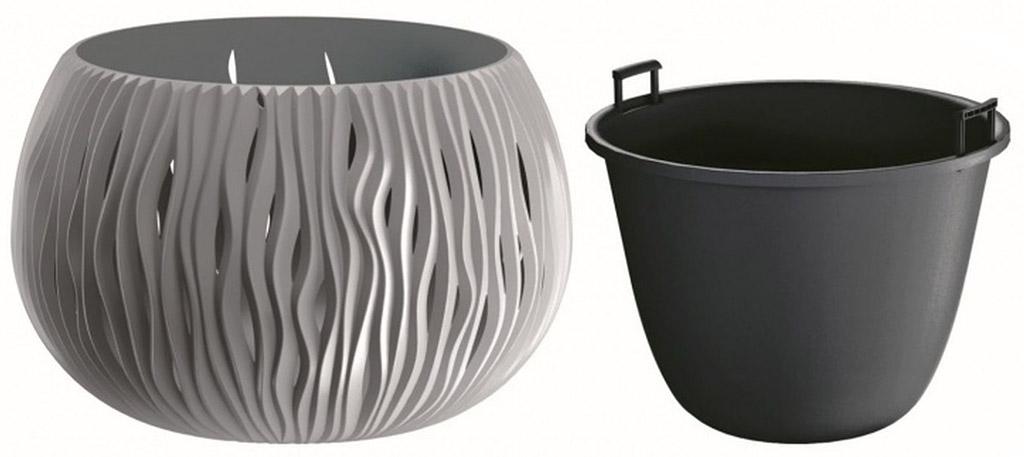 PROSPERPLAST SANDY Bowl květináč 29 cm, šedý kámen DSK290