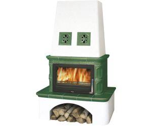 ABX Laponie TV výměník 10,5 kW, Kachlová kamna na dřevo s plech. vložkou, zelená