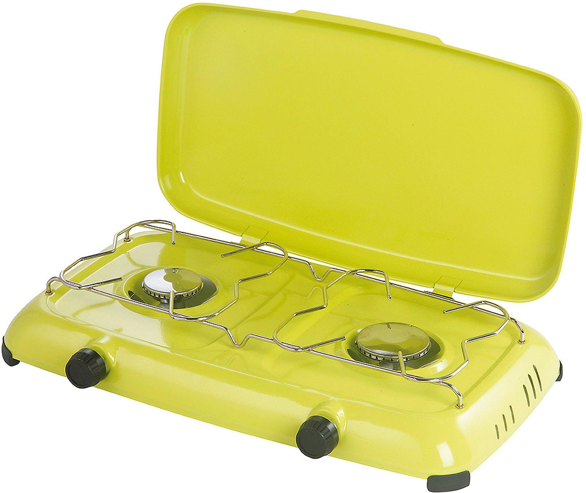 MEVA plynový vařič ORLÍK, 2 hořáky s víkem, nízkotlaký, zelený 2317