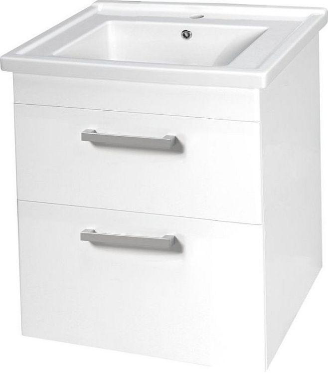 AQUALINE POLY umyvadlová skříňka 66x74,6x46,5 cm, 2 zásuvky, bílá PL070