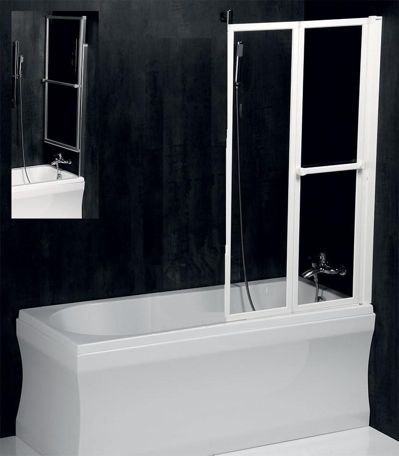 POLYSAN Vanová zástěna LANKA2 820mm, stříbrný rám, čiré sklo