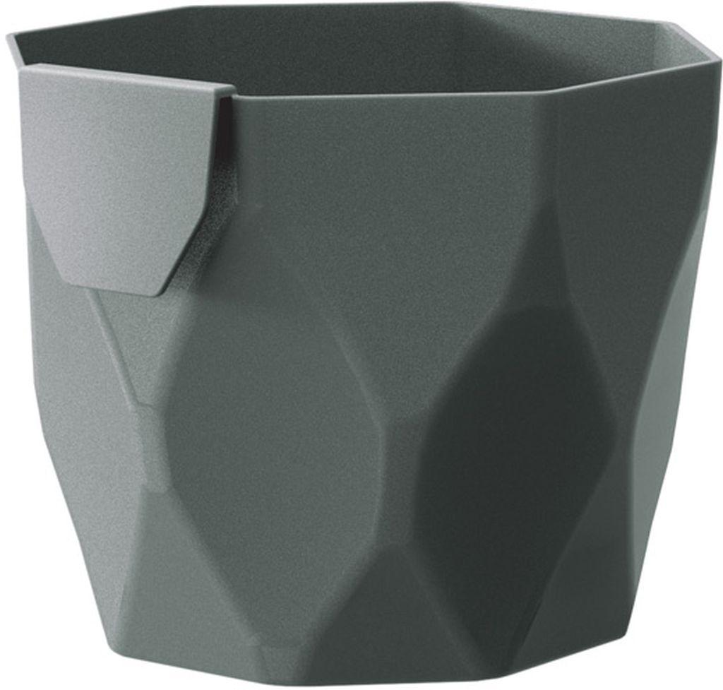 PROSPERPLAST ROCKA Květináč 12,6 cm, šedý kámen DROC125