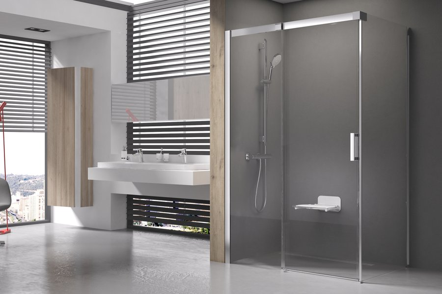 RAVAK Matrix MSDPS-100/100 L Sprchové dveře s pevnou stěnou, satin+Transparent 0WLAAU00Z1