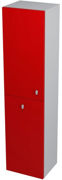 SAPHO AILA 55647 skříňka vysoká s košem 35x140x30cm, levá, červená/stříbrná