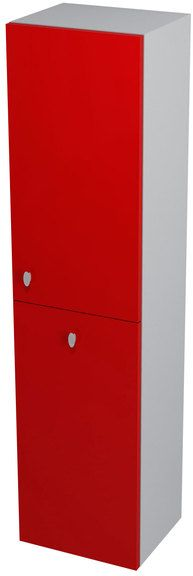 SAPHO AILA 55672 skříňka vysoká s košem 35x140x30cm, pravá, červená/stříbrná