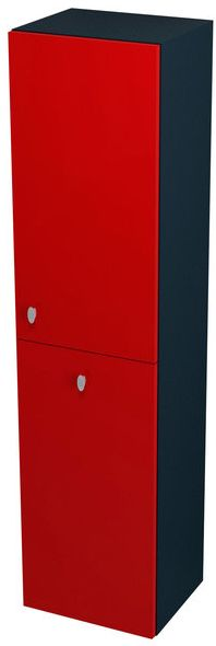 SAPHO AILA 55676 skříňka vysoká s košem 35x140x30cm, pravá, červená/černá