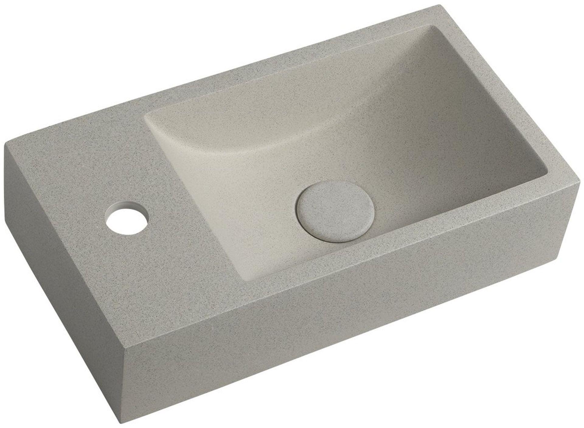 CREST L Betonové umyvadlo včetně výpusti, 40x22cm, levé, bílý pískovec AR410