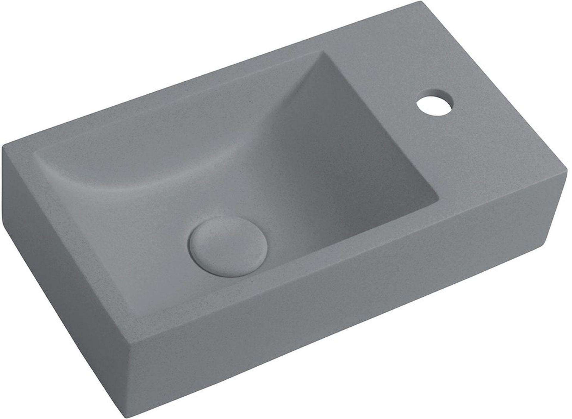CREST R Betonové umyvadlo včetně výpusti, 40x22cm, pravé, šedá AR412