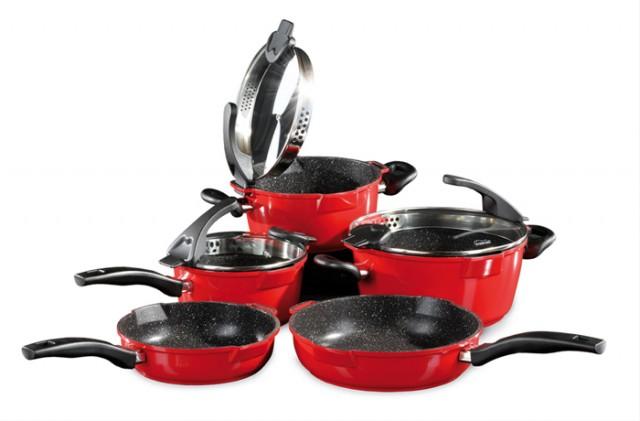 STONELINE FUTURE Sada nádobí s mramorovým povrchem 8 ks, rubínově červená WX-14324