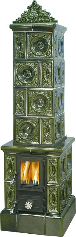 ABX Valdek, kachlová kamna na dřevo s plechovou vložkou, zelená