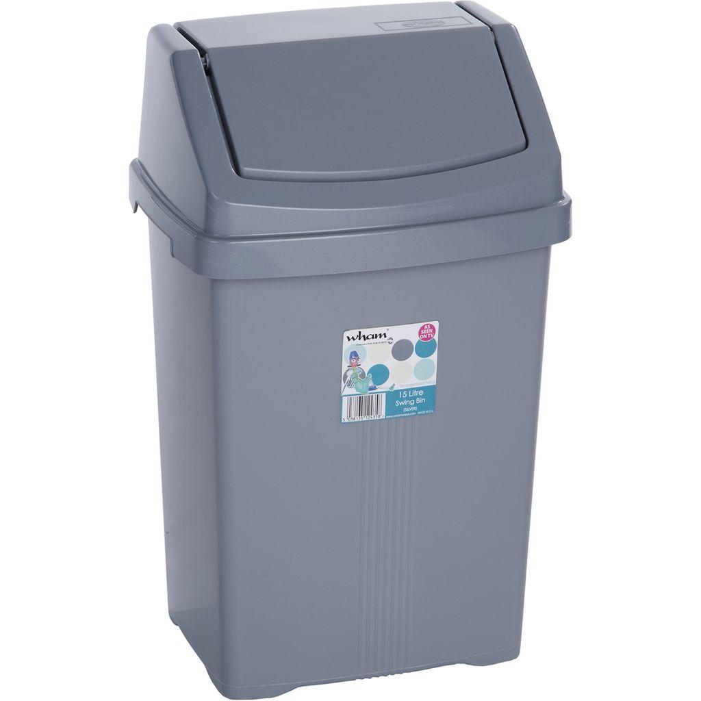 WHAM 11745 koš odpadkový 15l stříbrný 42000042