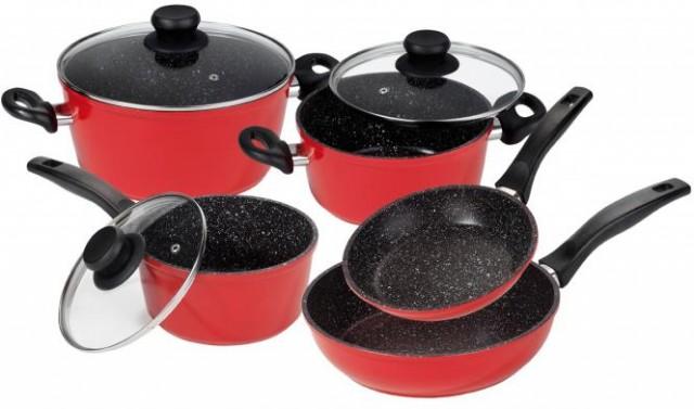 STONELINE Sada nádobí s mramorovým povrchem 8 ks, červená, WX-12344